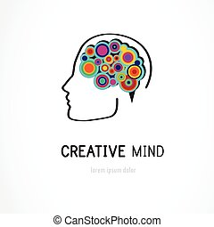 Creative, digital abstract colorful icon of human brain,...