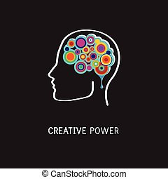 Creative, digital abstract colorful icon of human brain, mind, symbol