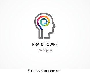 Creative, digital abstract colorful icon of human head, mind, brain symbol