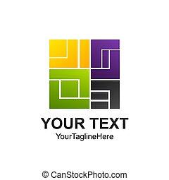 Creative digital abstract square vector logo design template element. Colorful concept icon