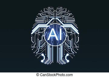 Creative digital AI circuit brain