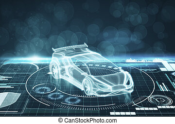 Artificial intelligence, transport and hologram concept