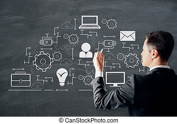 Creative digital network sketch
