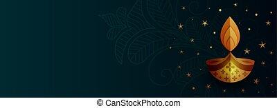 creative diwali diya banner with text space