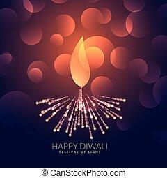 creative diwali diya with bokeh effect
