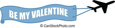 Be My Valentine Plane Banner Vector