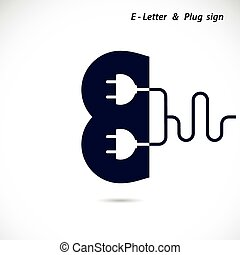 Creative E- letter icon abstract logo design vector template with electrical plug symbol. Corporate business creative logotype symbol.