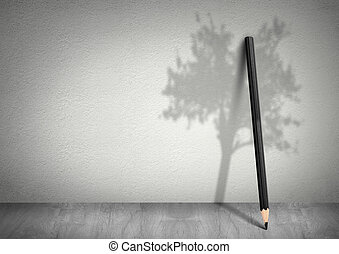 Creative ecology concept, pencil with shadow of tree