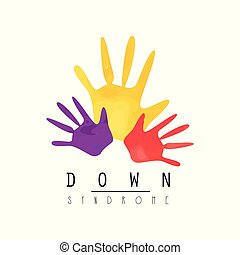 Creative emblem with colorful hands. Developmental...