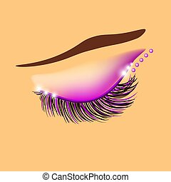 Creative eyelid and eyelashes design, vector illustration