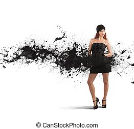Creative fashion - Concept of creative fashion with black...