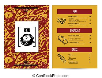 Creative fast food menu with hand drawn graphic