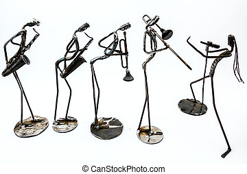 Creative figure of a musician, playing trumpet, saxophonist, trombone with singer