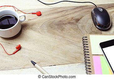 Creative flat lay of workspace office desk with copy space background