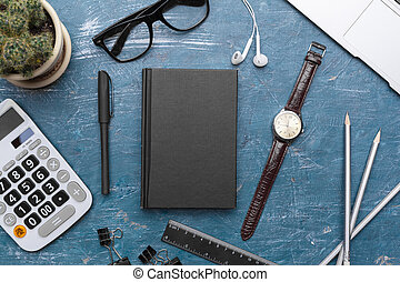 Creative flat lay photo of workspace desk blank black notebook with copy space background