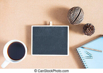 Creative flat lay photo of workspace desk with stationery, coffee and smartphone with copy space background, minimal styled