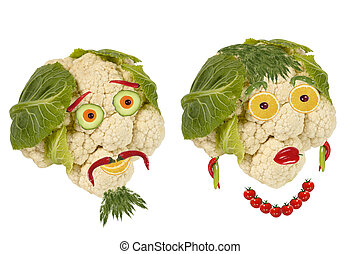 Creative food. Portrait two old man made ??of vegetables and fru