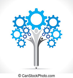 creative gear pencil tree design concept vector