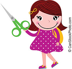 Creative girl with scissors isolated on white - Cute happy...