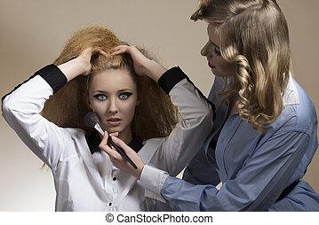 creative girls applying blush