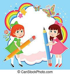girls with pencils on colorful abstract background