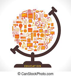 creative globe design - globe design with educational icon ...