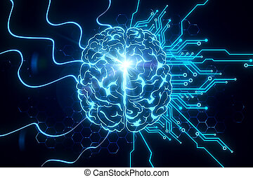 Creative glowing blue brain on circuit background. AI and innovate concept. 3D Rendering