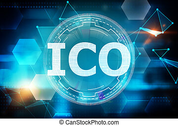 Initial coin offering concept - Creative glowing ico ...