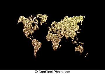Creative gold map of the world. Vector illustration. .