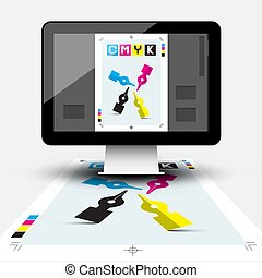Creative Graphic Design with CMYK Print Document and DTP Program on Computer Screen