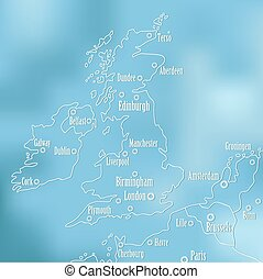 Creative Great Britain map and Ireland.