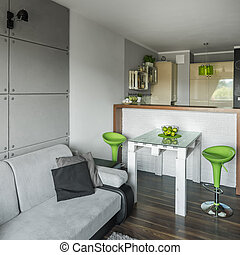 Creative green color in apartment