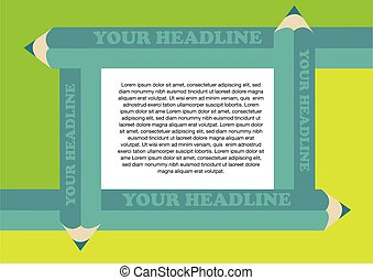 Creative Green Color Pencils Border Frame for Page Layout - ...