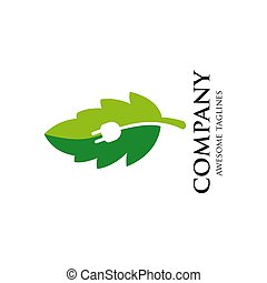 green energy Logo with sprout and electricity