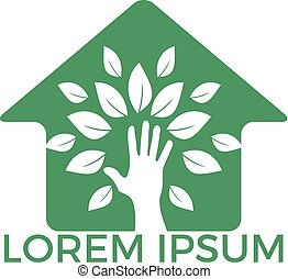 Creative green hand tree and house logo design.