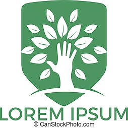 Creative green hand tree logo design. Natural products logo.