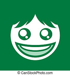 creative green happy face flat symbol design
