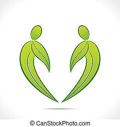 creative green people symbol design
