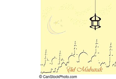 Creative greeting card design for holy month of muslim community festival Eid Mubarak with moon and hanging lantern, stars on background.