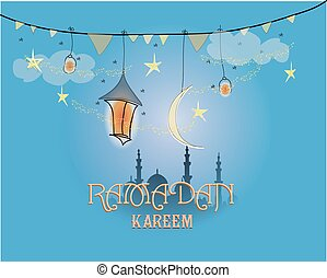 Creative greeting card design for holy month of muslim community festival Ramadan Kareem with moon and hanging lantern, stars on blue background.