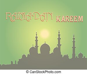Creative greeting card design for holy month of muslim community festival Ramadan Kareem with moon and hanging lantern, stars on background.
