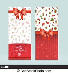 Creative Greeting Cards With Red Bows. Christmas Vector Illustration. Invitation for holiday.
