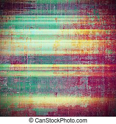 Creative grunge background in vintage style. Faded shabby texture with different color patterns: yellow (beige); brown; green; blue; red (orange); purple (violet)