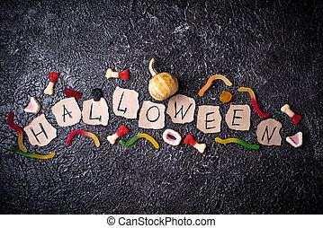 Creative Halloween background with  treats