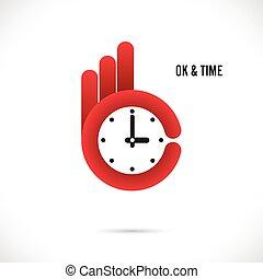 Creative hand and clock shape abstract logo design.Hand Ok symbol icon.Corporate business creative logotype symbol.