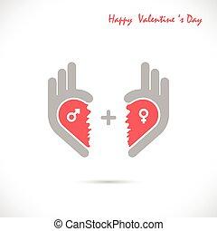 Creative hand and heart shape abstract logo design.Hand Ok symbol icon.Happy Valentines day symbol.