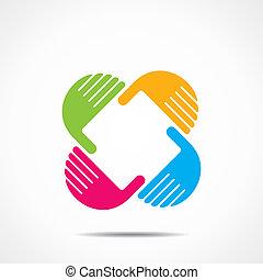 creative hand icon, arrange hand and make square shape stock...