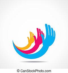 creative hand icon concept design stock vector