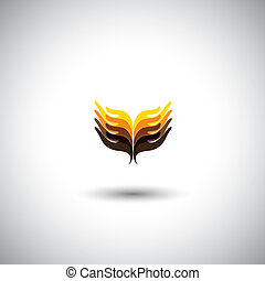 creative hand icons, people's hand above each other - unity...