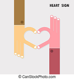 Creative hand sign and heart abstract vector logo design. Hand Heart shape symbol.Teamwork,team,partner,partnership,cooperation,harmony,unity,success,achievement,meeting,love and business creative logotype concept.